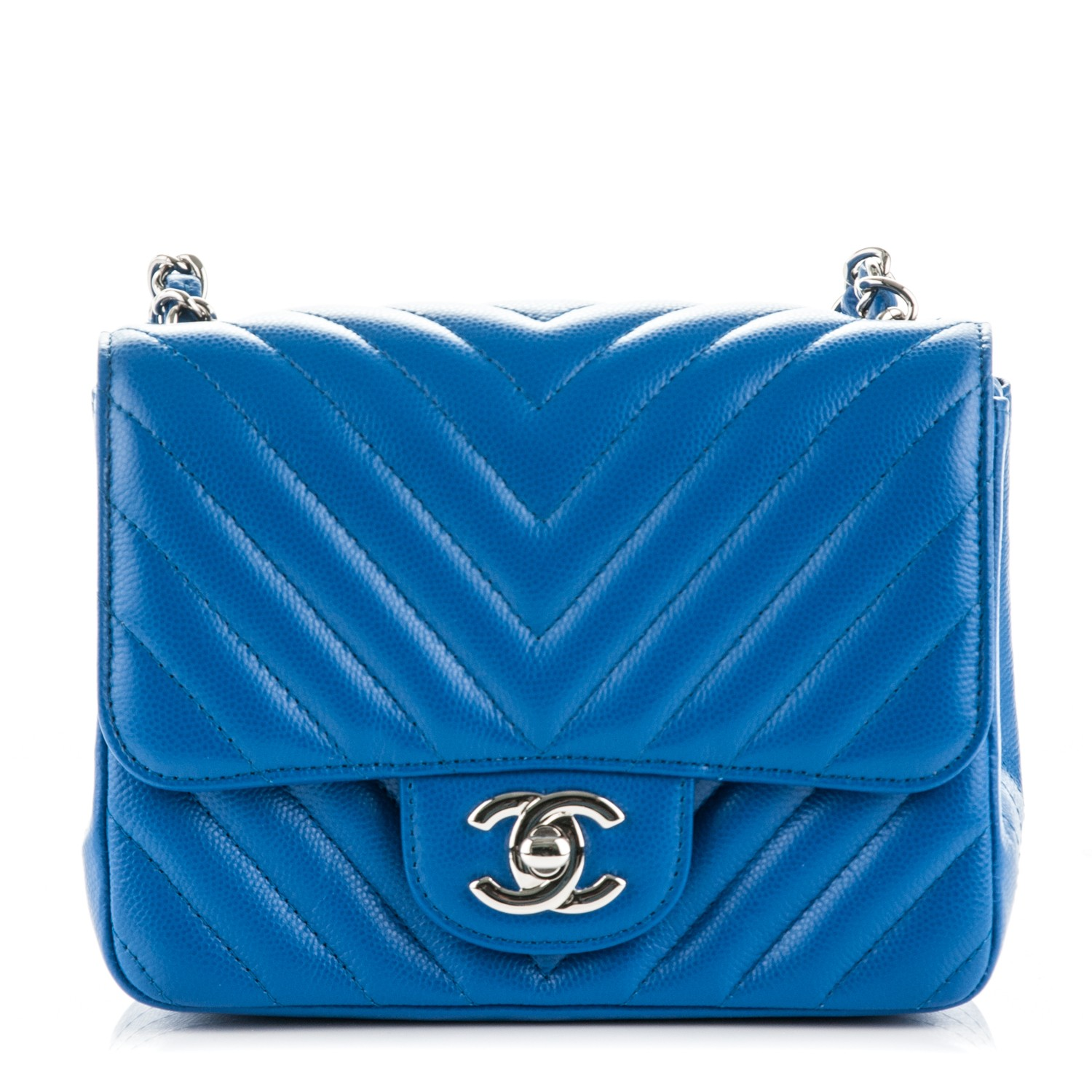 00a2303d422d CHANEL Caviar Chevron Quilted Mini Square Flap Blue 178080