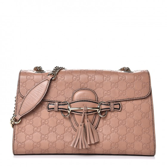 e8783913f3e0ca GUCCI Guccissima Medium Emily Chain Shoulder Bag Rose Beige 305304