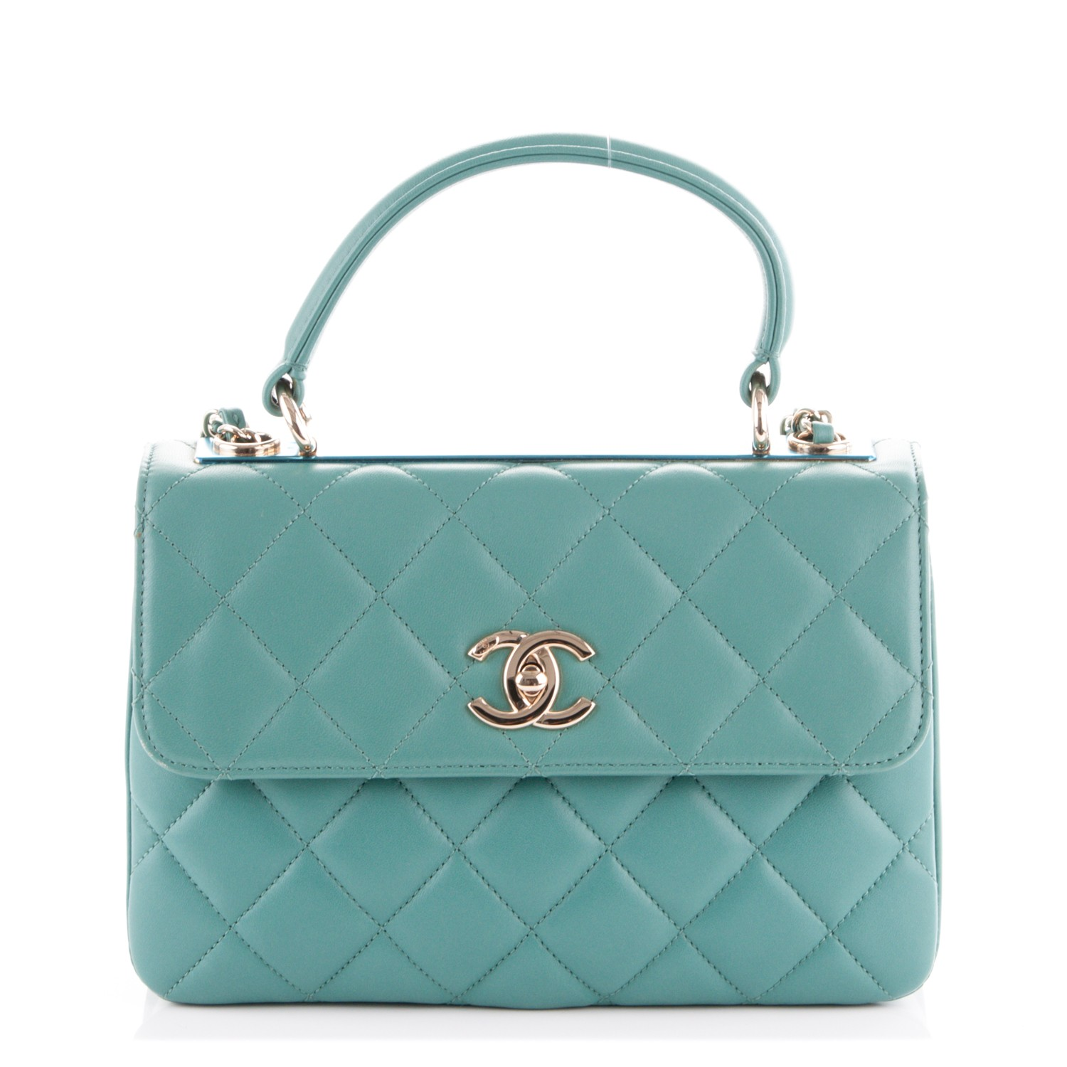 484214d445cb CHANEL Lambskin Quilted Small Trendy CC Flap Dual Handle Bag Light Green  172936