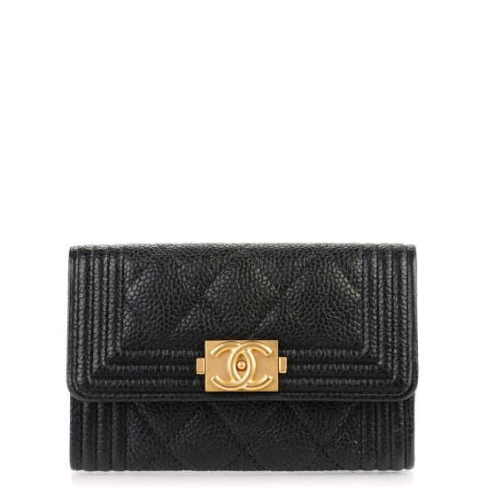 4b96a1be6f01 CHANEL Caviar Quilted Boy Card Holder Wallet Black 155438