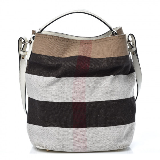 3694c8ea9b1d BURBERRY Canvas Check Medium Ashby Hobo White 358746