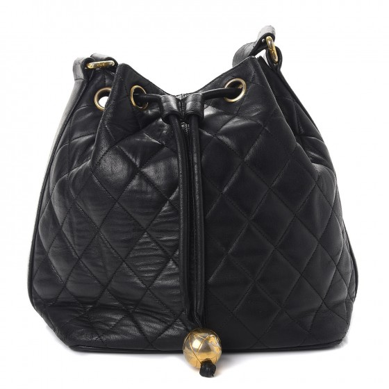 7a8fb30cc7f4 CHANEL Lambskin Quilted Drawstring Bag Black 261201