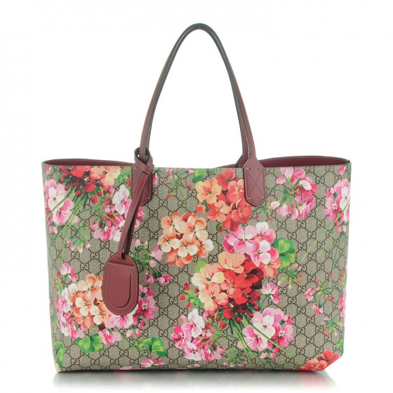 479d7c49c GUCCI Textured Calfskin Monogram Canvas Blooms Print Large Reversible Tote  Antique Rose 148872