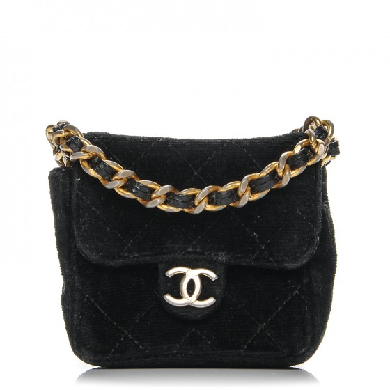 52fb3d940b9ebe CHANEL Velvet Quilted Micro Mini Flap Black 192556