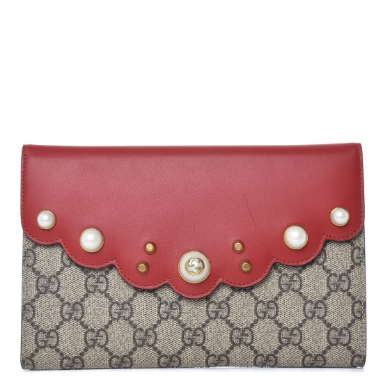34ce2e7afdf GUCCI GG Supreme Monogram Mini Peony Pearly Clutch Red 352747