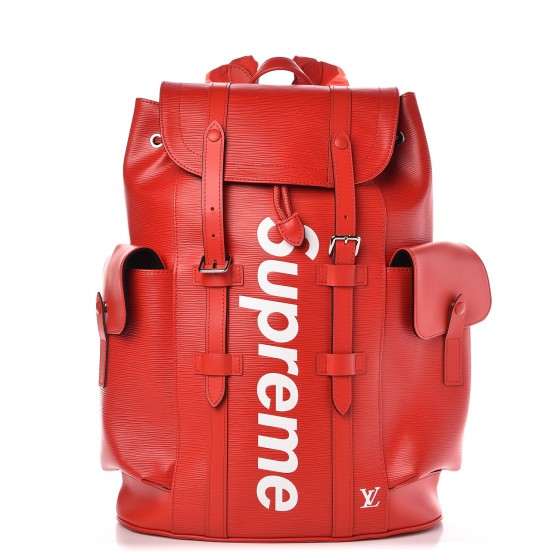 new product c174b 3297f LOUIS VUITTON X SUPREME Epi Christopher Backpack PM Red 298147