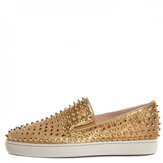 c898c80123e7 CHRISTIAN LOUBOUTIN Mens Pony Hair Spikes Roller Boat Flat 45 Gold. Empty.  Pinch Zoom