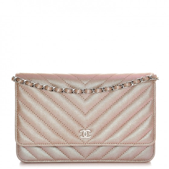 ebafa9d1505f CHANEL Metallic Caviar Chevron Quilted Wallet On Chain WOC Light Gold 224458