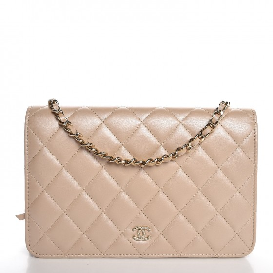 caf19e680d23 CHANEL Iridescent Lambskin Quilted Pearl Wallet On Chain WOC Light Beige  318451