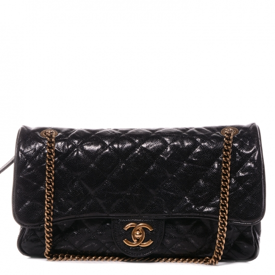 b3ca6a48cb9f78 CHANEL Crumpled Grained Calfskin Large Shiva Flap Black 66506
