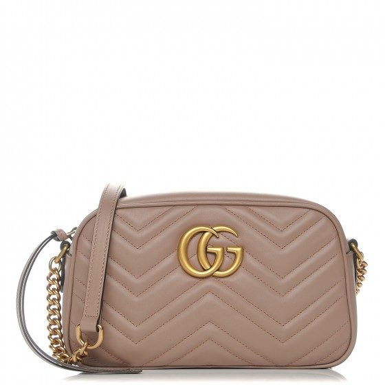 9722c29143698e GUCCI Calfskin Matelasse Small GG Marmont Chain Shoulder Bag Taupe 204480