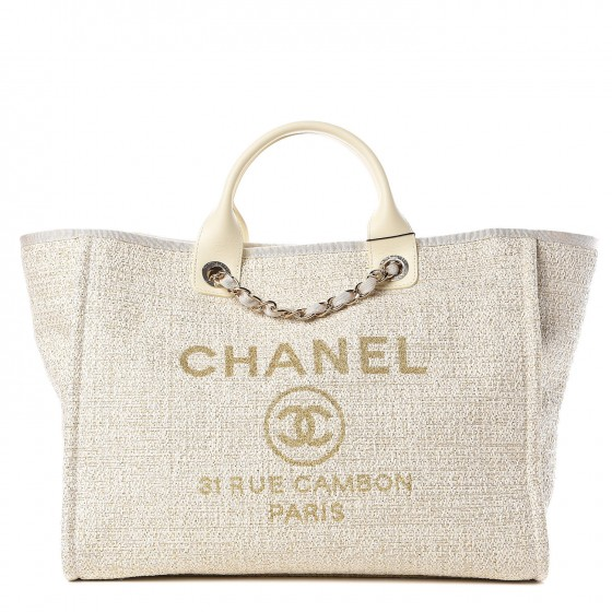 42400f1f0e7d CHANEL Canvas Large Deauville Tote Ivory 328122