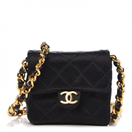 26ee199ecc6b CHANEL Satin Quilted Micro Mini Flap Black 316557