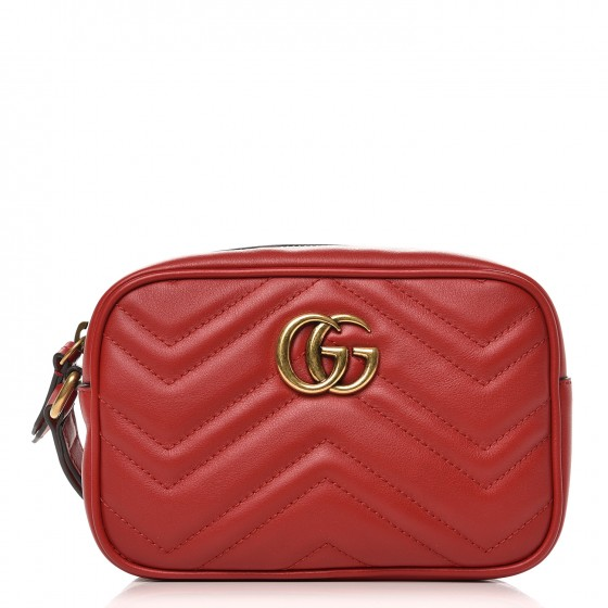 06be560d2678 GUCCI Calfskin Matelasse Mini GG Marmont Wrist Wallet Hibiscus Red 250616