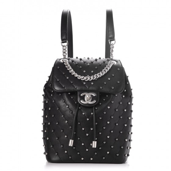 b755b6ab96070d CHANEL Lambskin Chevron Quilted Studded Stud Wars Backpack Black 249752