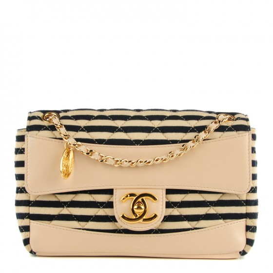 d44d9df2f03d CHANEL Jersey Quilted Small Coco Sailor Flap Beige Navy 118760