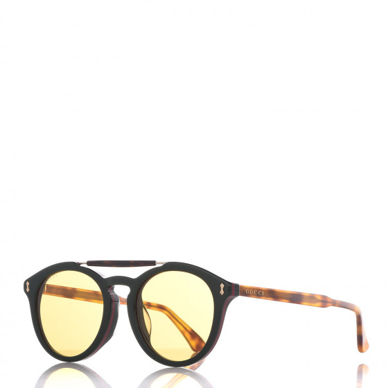13249591fd GUCCI Acetate Vintage Round GG 0124SA Sunglasses Green Tortoise 362887