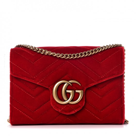 0aca456b993f GUCCI Velvet Matelasse GG Marmont Chain Wallet Red 331111