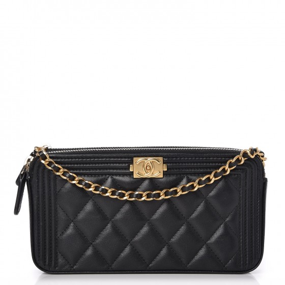 3a4b3f972f3a CHANEL Lambskin Quilted Small Boy Clutch With Chain Black. Empty. Pinch Zoom