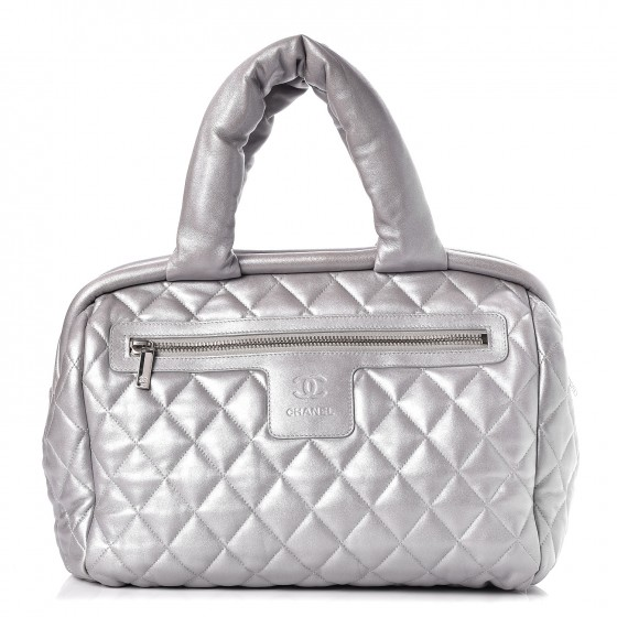 78c943337f52f7 CHANEL Metallic Lambskin Quilted Coco Cocoon Bowler Silver 247093