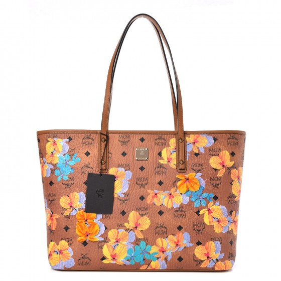 9e5c57e4f MCM Visetos Medium Anya Essential Flower Print Shopper Tote Cognac 299790