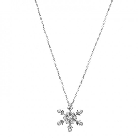 819497d8e TIFFANY Platinum Diamond Snowflake Pendant Necklace 244116