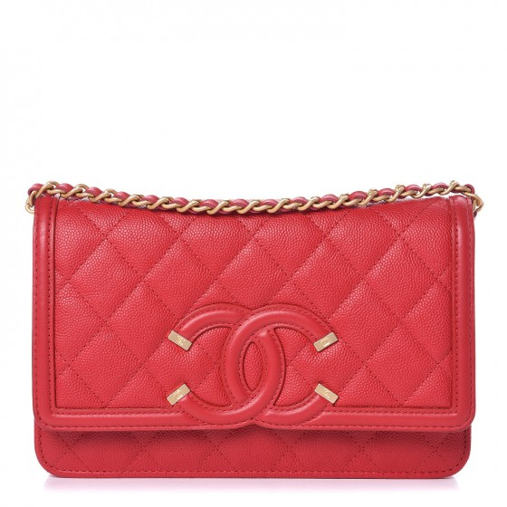 e0d490fdd9c8 CHANEL Caviar Quilted CC Filigree Wallet On Chain WOC Red 339196