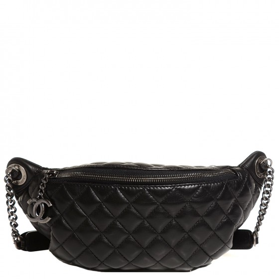 f093bcfc3 CHANEL Lambskin Quilted Banane Waist Bag Fanny Pack Black 100926