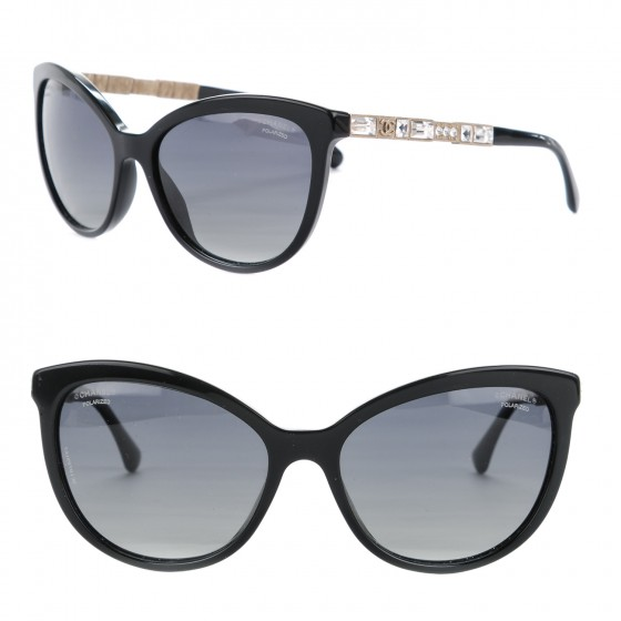 848e298e951a3 CHANEL Crystal Baguette Polarized Cat Eye Bijou Sunglasses 5307-B Black  156928