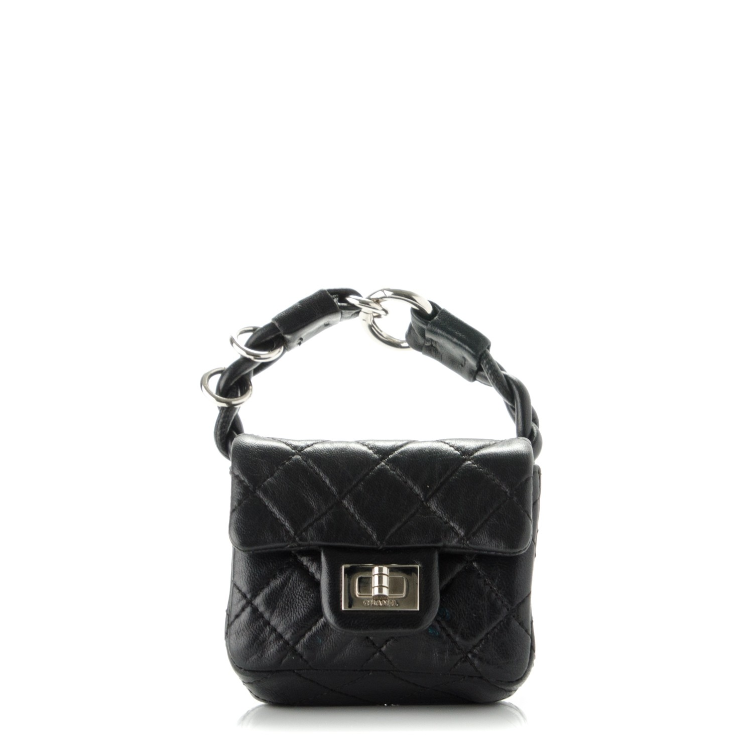 c44e73c56a4bd1 CHANEL Calfskin Quilted 2.55 Ankle Wrist Bag Black 177245