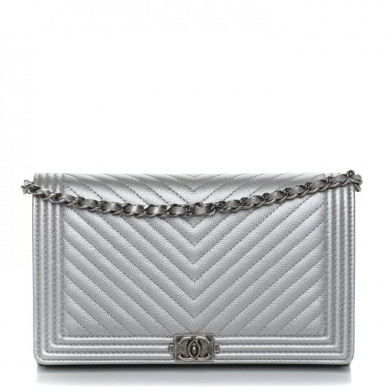 f2b844c04e5d CHANEL Metallic Caviar Chevron Quilted Boy Wallet On Removable Chain WOC  Silver 192492