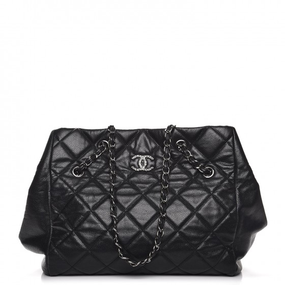 3a4dd229da9f CHANEL Soft Caviar Quilted Large Cells Tote Black 228039