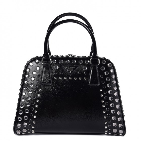 7e13b4cbb6c6 PRADA Saffiano Vernice Small Crystal Pyramid Top Handle Bag Nero Black  314666