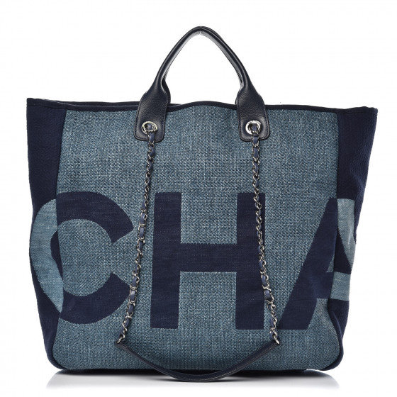 cd807b941e43 CHANEL Canvas Large Shopping Tote Dark Blue 355867