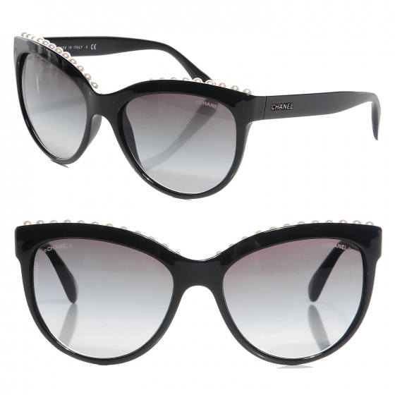 7554c763e CHANEL Freshwater Pearl Butterfly Sunglasses 6040 H Black 85545