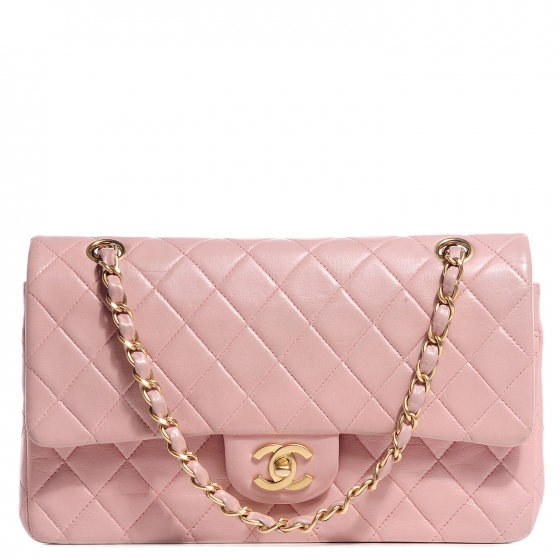 adf28fb8b538 CHANEL Lambskin Quilted Medium Double Flap Light Pink 81395