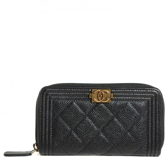 61ef25959908 CHANEL Caviar Quilted Boy Small Zip Around Wallet Black 111107