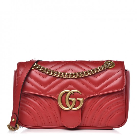 91cfb219822 GUCCI Calfskin Matelasse Small GG Marmont Shoulder Bag Hibiscus Red 342523