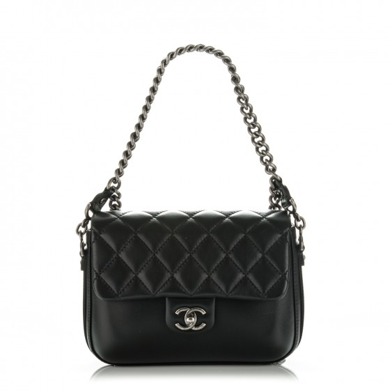 6bed4eacbfbc CHANEL Calfskin Quilted Medium Rock My Shoulder Flap Black 180341