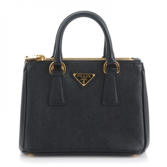 f57fd51693ee PRADA Saffiano Mini Galleria Double Zip Crossbody Bag Nero Black 167504