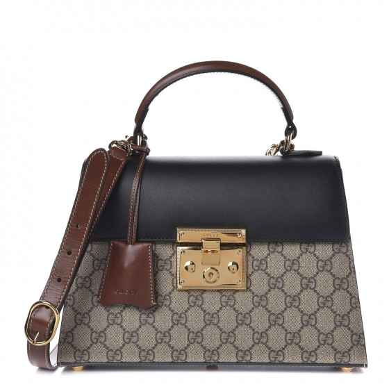 eaf367b31 GUCCI GG Supreme Monogram Small Padlock Top Handle Bag Black 285342