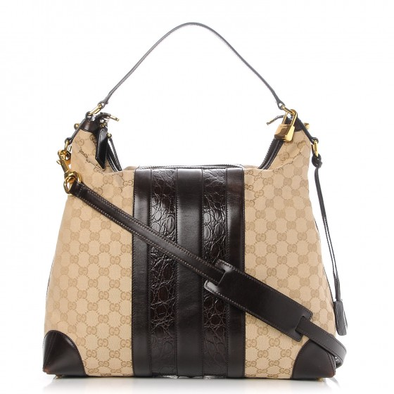 bd5505694 GUCCI Monogram Crocodile Web Medium Secret Hobo Dark Brown 234086