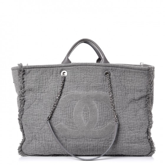 864d75b11416 CHANEL Canvas Extra Large Double Face Shopping Tote Grey 288466