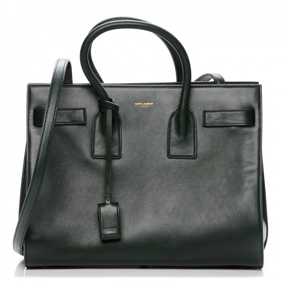 518817e74e0 SAINT LAURENT Calfskin Small Sac De Jour Dark Green 195877