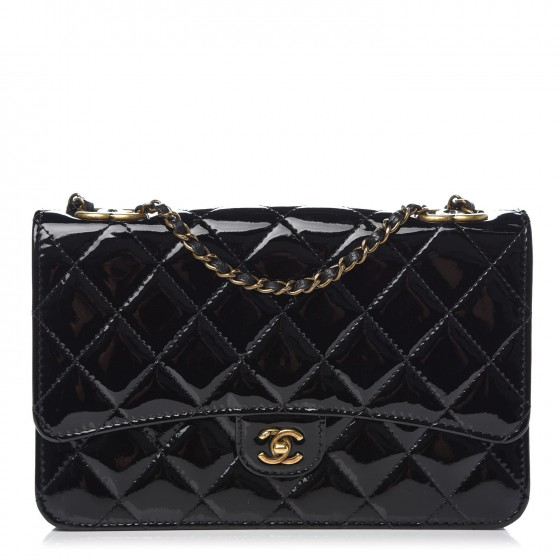 1d61457d7b8e CHANEL Patent Goatskin Quilted CC Eyelet Wallet On Chain WOC Black 333073