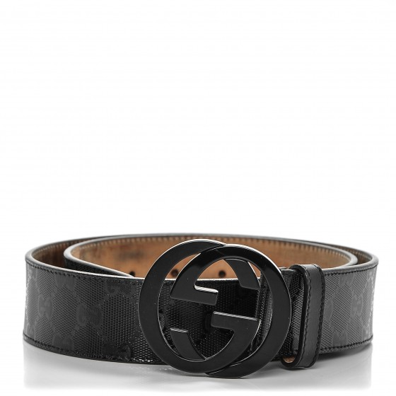 ab5020e37 GUCCI Imprime Monogram Interlocking G Belt 80 32 Black 190408
