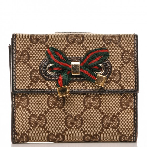 feb5ffa7f324 GUCCI Monogram Princy Compact French Flap Wallet Brown 184379