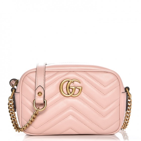14e169fef GUCCI Calfskin Matelasse Mini GG Marmont Bag Light Pink 227211
