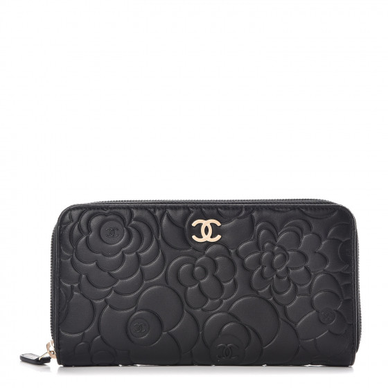 e1c66158 CHANEL Lambskin Camellia Embossed Large Zip Around Gusset Wallet Black