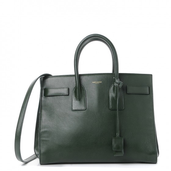 0ff4a8e73b5 SAINT LAURENT Calfskin Small Sac De Jour Dark Green 245476